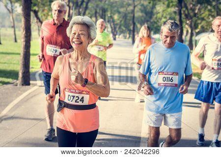 Senior athletes running in the park