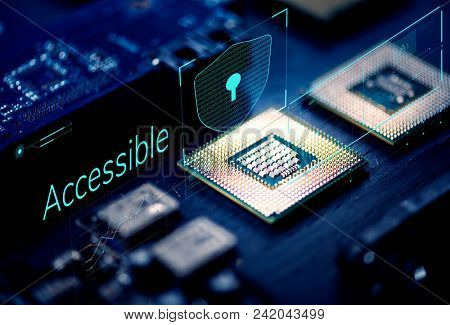 Closeup of microchips in a computer processor