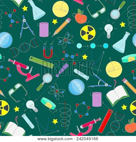 Seamless Pattern On The Theme Of Science And Inventions, Diagrams, Charts, And Equipment, Simple Ico