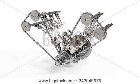 3d Rendering Of An Internal Combustion Engine. Engine Parts, Crankshaft, Pistons, Fuel Supply System