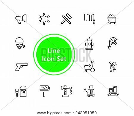 Hard Work Icons. Set Of Line Icons. Courier, Criminal, Policeman. Occupation Symbols Concept. Vector