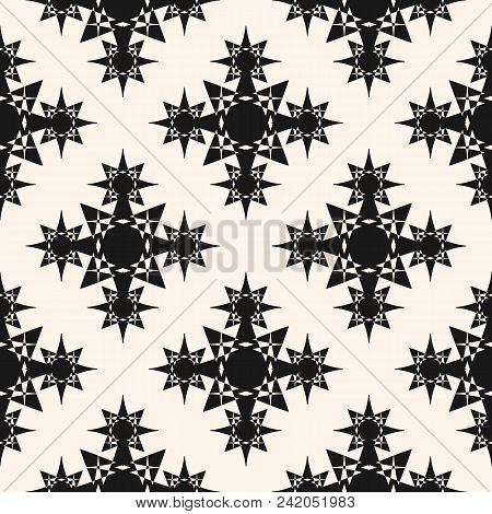 Vector Seamless Pattern With Stars, Ornamental Shapes, Crosses. Elegant Abstract Monochrome Texture.