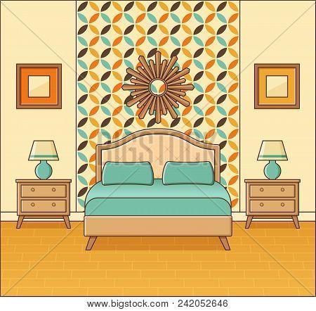 Bedroom Retro Interior. Hotel Room In Flat Design. Vector Illust
