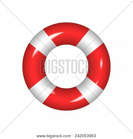 Life Buoy Isolated On A White Background.vector Realistick Red Lifebuoy Help Element Icon .rescue Co