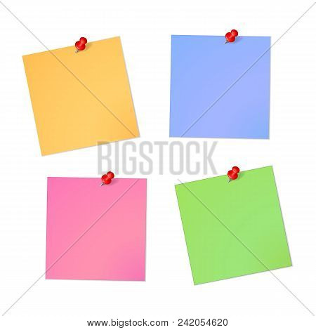 Note Paper Sheet Set With Red Pin With Shadow Isolated On A White Background.paper Empty Sheet Mocup