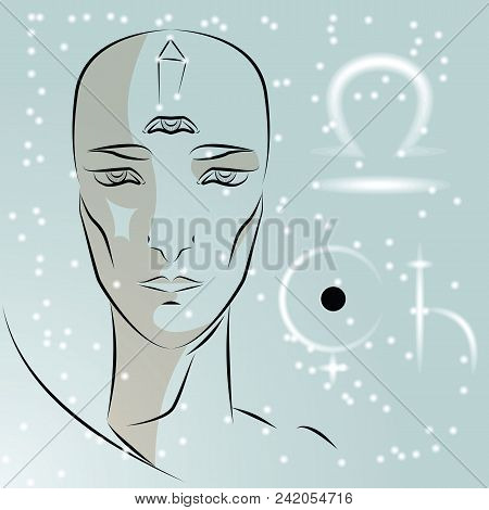 Sign Of Zodiac Libra. Girl Is Fortuneteller With Third Eye, Constellation, Sign Of Zodiac And Planet