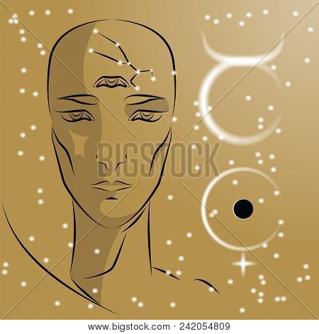 Sign Of Zodiac Taurus. Girl Is Fortuneteller With Third Eye, Constellation, Sign Of Zodiac And Plane