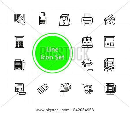 Payment Icons. Set Of  Line Icons. Print, Receipt, Calculator. Finance Concept. Vector Illustration