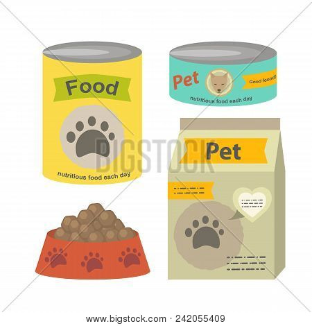 Pet Food Set Vector Flat Illustration Isolated On A White Background. Can Of Canned Food, A Packet O