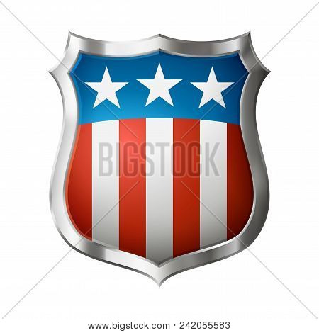 Icon Of Shield, With American Traditional Design, Eps 10 Contains Transparency.