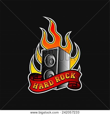Illustration Of Subwoofer In Hot Orange Flame And Red Ribbon With Text Hard Rock . Music Theme. Grap