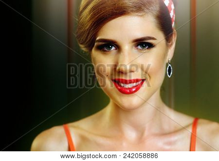 Pin up girl happy and smiling at party. Pin-up retro female style. Girl pin-up style wearing red dress. How to succeed. Art of enchanting men.