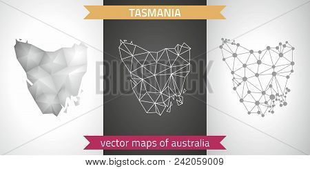 Tasmania Set Of Grey And Silver Mosaic 3d Polygonal Maps. Graphic Vector Triangle Geometry Outline S