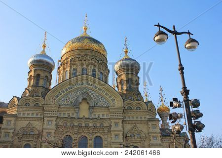 Church Of The Assumption Of The Blessed Virgin Mary In Saint Petersburg, Russia. Russian Orthodox Ch