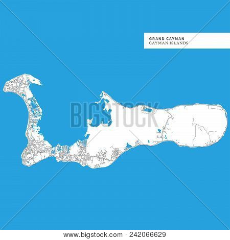Map Of Grand Cayman, cayman Islands, Contains Geography Outlines For Land Mass, Water, Major Roads A