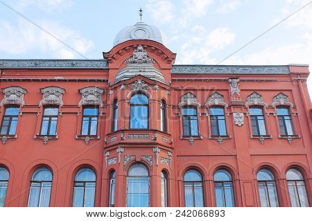 Classic Old Building Historic Facade Of Red Wall House With Windows, Vintage Style Effect Image. Cla
