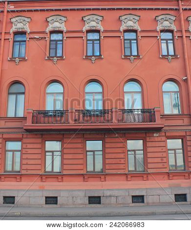 Architecture Building Classic Decor Facade Of Old Historic House With Light Red Color Walls. Europea