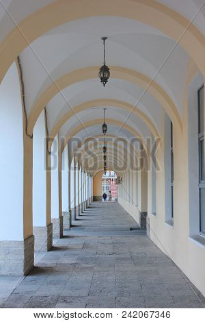 Building Architecture Arch Passage, Straight Long Gallery Corridor. Perspective View Of Arch Vault T