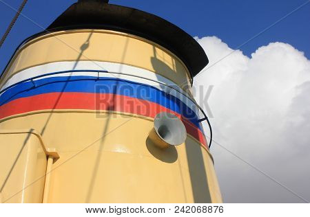 Russian Naval Ship Detail With Loudspeaker And Russian Flag Painted On Outdoor Deck. Navy Marine Shi