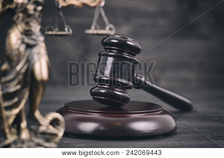 Law And Justice, Legality Concept, Judge Gavel, Scalesof Justice And Lady Justice On A Black Wooden