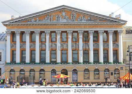 St. Petersburg, Russia - May 1, 2018: Old Historical Architecture Building Facade With Ornamental Pi