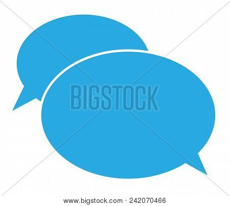 Flat Icon Of A Communication. Chat Icon On White Background. Chat Sign. Flat Style. Blue Communicati
