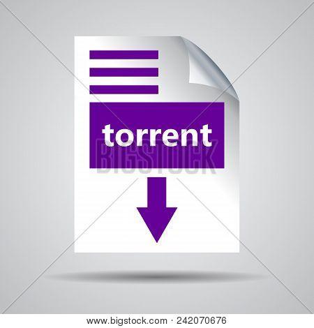 Flat Ultra Violet Torrent Format Download Icon On A Grey Background