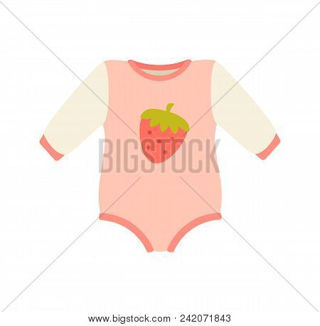 Baby Suit, Clothes And Romper Of Pink Color, With Image Of Strawberry In Centerpiece, Childrens Mode
