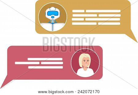Smart Chatbot For Your Business Concept. Future Internet Marketing. Chat Bot And Woman Icons With Sp