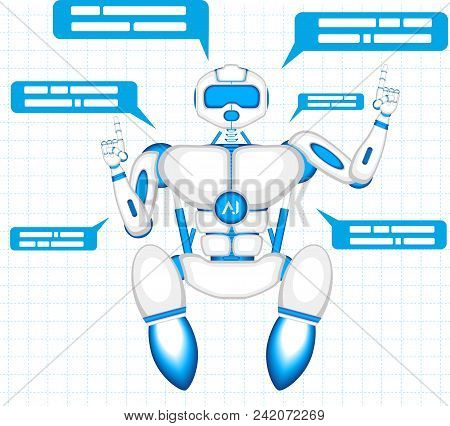 Chat Bot With Speech Bubbles. Robot Virtual Assistance Of Website Or Mobile Applications. Virtual On