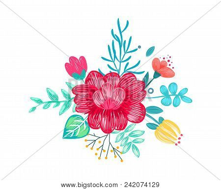 Closeup Of Drawn Bouquet, Peony Placed In Centerpiece And Other Flowers Around It, Green Leaves And