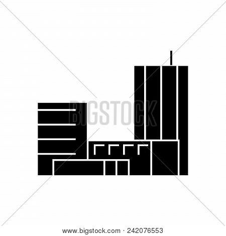 Goverment Building Black Icon, Vector Illustration. Goverment Building  Concept Sign.
