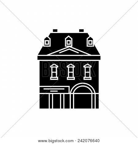 Historic Building Black Icon, Vector Illustration. Historic Building  Concept Sign.