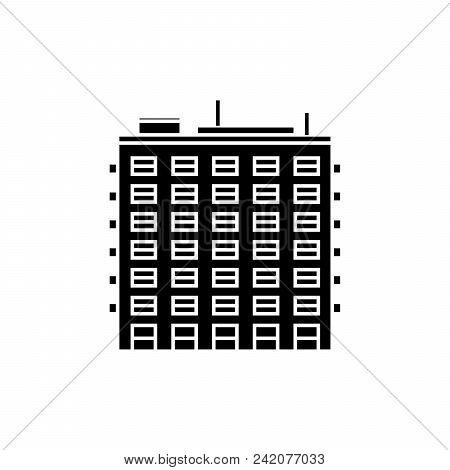 Multi Storey Building Black Icon, Vector Illustration. Multi Storey Building  Concept Sign.
