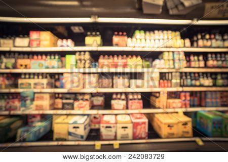 Abstract Blurred Various Of Beer At Grocery Store In Usa