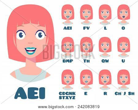 Cyberpunk Cartoon Talking White Hipster Woman Expressions. Mouth And Lips Vector Animation Poses For