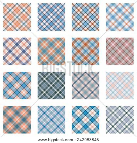Plaid Patterns Collection, 16 Seamless Tartan Patterns, Light Blue And Red Shades