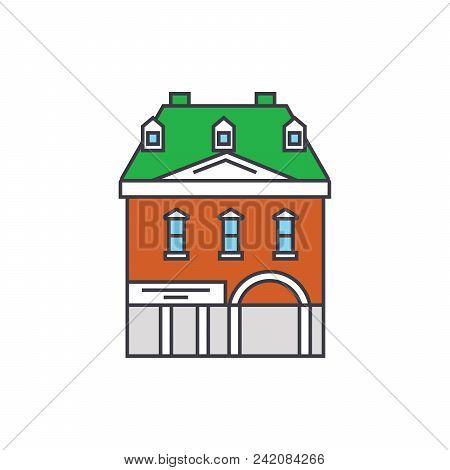 Historic Building Line Icon, Vector Illustration. Historic Building Flat Concept Sign.