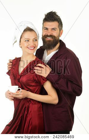 Couple, Love, Morning And Happiness Concept - Smiling Loving Couple Drinks Coffee At Home. Romantic