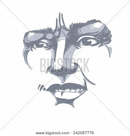 Vector Drawing Of Distrustful Woman, Face Features. Black And White Portrait Of Doubter Lady, Do Not