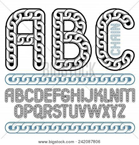 Vector Type Font, Script From A To Z. Capital Decorative Letters, Abc Created Using Connected Chain