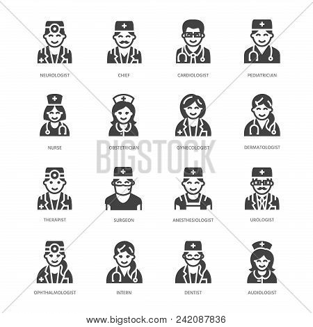 Doctors Professions Flat Glyph Icons. Medical Occupations - Surgeon, Cardiologist, Dentist Therapist