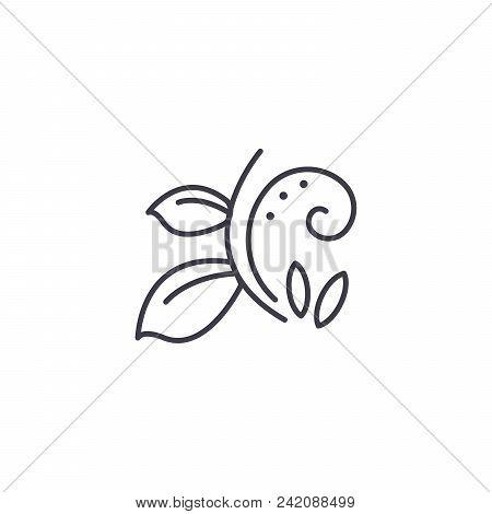 Florist Branch Line Icon, Vector Illustration. Florist Branch Flat Concept Sign.