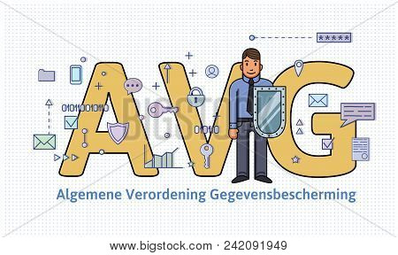 General Data Protection Regulation In Netherlands. Man With A Shield In Front Of Big Avg Letters Amo
