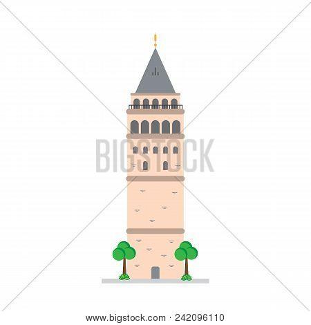 Galata Tower, Istanbul Turkey Isolated Vector Illustration