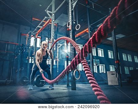 Woman With Battle Rope Battle Ropes Exercise In The Fitness Gym. Crossfit Concept. Gym, Sport, Rope,