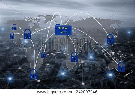 Padlock Over Eu Map, Symbolizing The Eu General Data Protection Regulation Or Gdpr. Designed To Harm