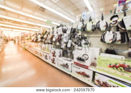 Blurred Variety Of Kitchen, Dining Cookware Utensils At Store In America