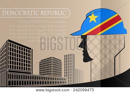 Building Logo Made From The Flag Of Democratic Republic ,construction Working Industry Concept. Vect