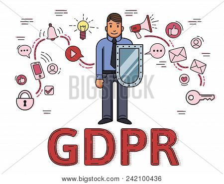Businessman With A Shield Among Internet And Social Media Symbols. General Data Protection Regulatio